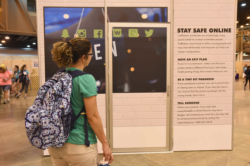 "WELCA @ 2018 ELCA Youth Gathering | One side of our triangle featured online safety tips for youth from <a href=""http://love146.org--an"">http://love146.org--an</a> organization in Houston that supports victims and survivors of human trafficking."