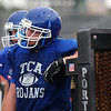 The TCA-Addison Trojans take on the Cistercian Hawks in both teams' first scrimmage of the season at Tom Landry Stadium in Addison, Texas on Friday, August 12, 2011.