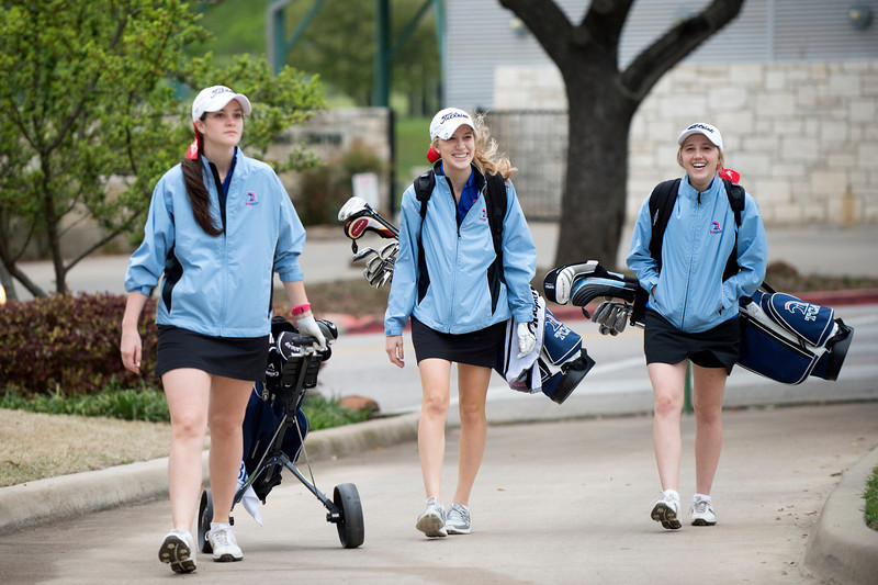 Trinity Christian Academy varsity girls golf team competes in the TAPPS District 1-5A tournament Monday, April 8, 2012 at Tenison Highlands golf course in Dallas.