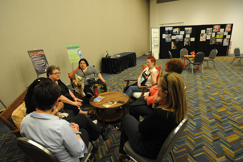 Women of the ELCA @ ELCA Youth Gathering   Detroit, Michigan, July 15-19 2015   Staff meet to discuss the event at the close of the first day.