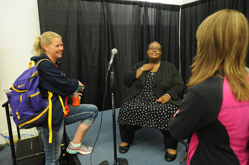 Women of the ELCA @ ELCA Youth Gathering | Detroit, Michigan, July 15-19 2015 | Adult leaders talk to Alana Gracey, Alternative For Girls, after her talk about the work she does with victims of trafficking.