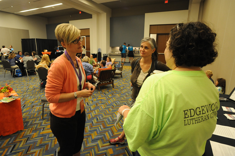 Women of the ELCA @ ELCA Youth Gathering | Detroit, Michigan, July 15-19 2015 | Jennifer Mason, Michigan Abolitionist Project, talks with adult leaders following her talk in the Adult Leader Cafe.