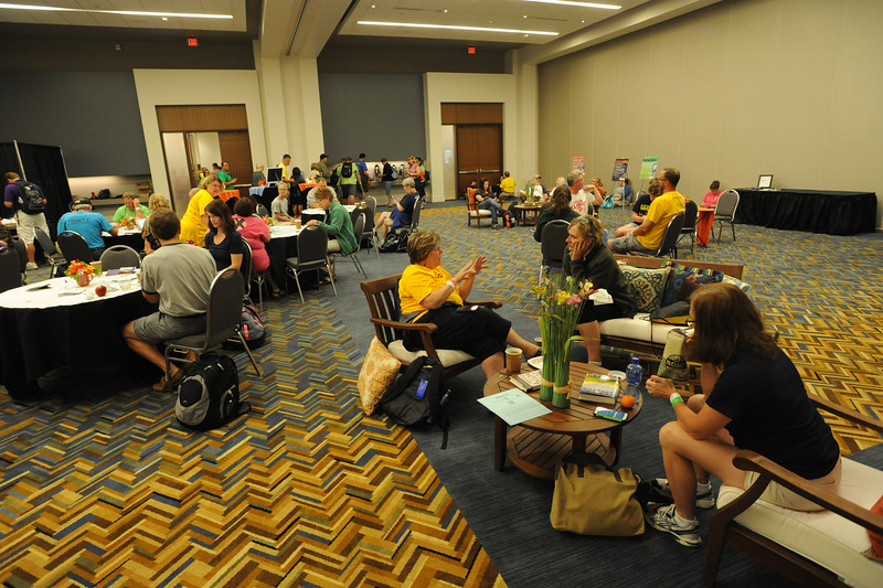 Women of the ELCA @ ELCA Youth Gathering | Detroit, Michigan, July 15-19 2015 | Leaders soak up the quiet in the Adult Leaders Cafe in the convention center.