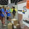 "Women of the ELCA @ ELCA Youth Gathering | Detroit, Michigan, July 15-19 2015 | Lizzy Hellsten, Maddie Franklin, Danielle Miller, Claire Fitzpatrick, Maddie Venzon, Christ the Lord in Lawrenceville, Ga., read the stats on the ""exterior"" wall about how homeless teens are often victims of trafficking."