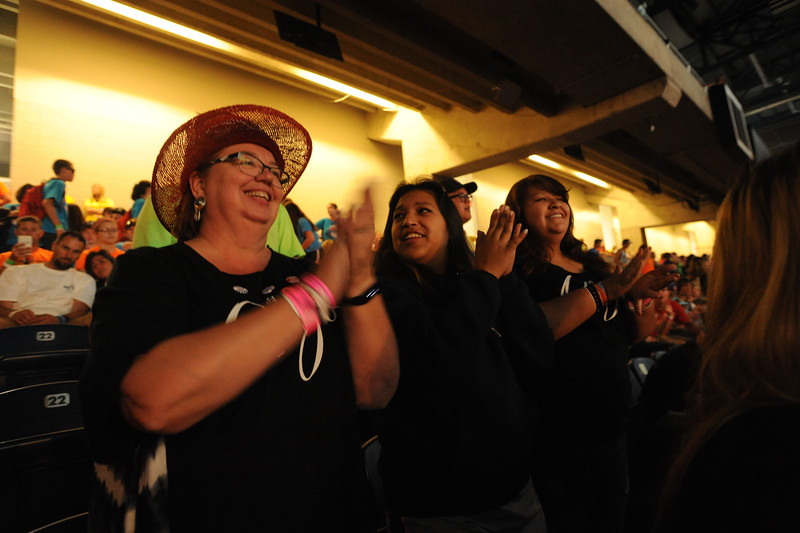 Women of the ELCA @ ELCA Youth Gathering | Detroit, Michigan, July 15-19 2015 |  Susan Humphrey, Xandreah Nanato, Zandria Nanato, Oaks Indian Mission, Ebenezer Lutheran, Oakes, Ok. gearing up for a good time at worship in Ford Field Friday night.