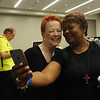 "Women of the ELCA @ ELCA Youth Gathering | Detroit, Michigan, July 15-19 2015 | Patti Austin and The Rev. Angela Shannon, King of Glory Lutheran, Dallas, Tx. share a ""twofie"" in the Adult Leaders Cafe."