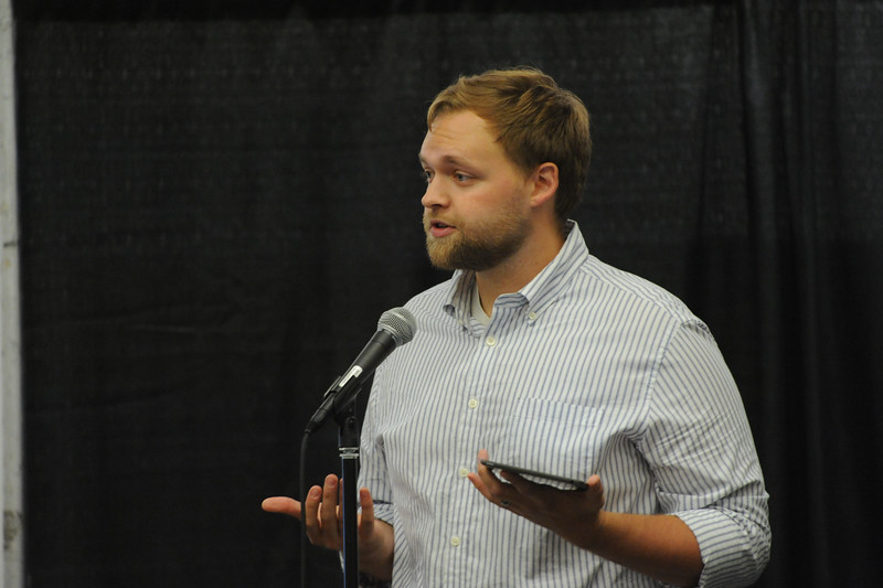 Women of the ELCA @ ELCA Youth Gathering | Detroit, Michigan, July 15-19 2015 | Luke Hasservoot, Common Ground, Detroit, Mich., talks about his work with one of the organizations that received in-kind gifts that were gathered in the Women of the ELCA exhibit.