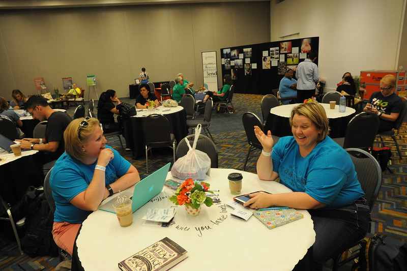 Women of the ELCA @ ELCA Youth Gathering | Detroit, Michigan, July 15-19 2015 | Polly Pierce, Atonement Lutheran and Lucinda Lien, Immanuel Lutheran, Jamestown, ND, relax in the cafe.