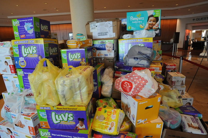 Women of the ELCA @ ELCA Youth Gathering | Detroit, Michigan, July 15-19 2015 | A pile of diapers collected by the youth that WELCA groups helped sponsor.