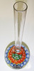 """DCP04751VBV Budvase... Vasart paperweight budvase with three concentric cane rows around a single center cane set on a yellow ground, 6.75"""" tall (overall length) x 2.2"""" (diameter of pwt) and 9.0 ozs. Smooth fire-polished base with a concave pontil mark area. Black Vasart label. circa 1956/59 to 1964. acquired 10-10-07."""