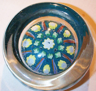 """DCP04677YVP Pindish... Ysart/Vasart YVP pindish with a 8 spoke 1-2 design cartwheel set on a aqua/blue ground, 3.95"""" x 1.7"""" and 25.5 ozs. Flattish fire-polished base with a very rough and sharp ground out pontil mark area. No label. circa 1946 to 1956/59. acquired 10-19-05."""