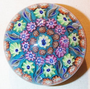 """DCP04572VP8... Vasart VP8 medium/small 8 spoke in a 1-2 design cartwheel set on a teal blue ground, 2.6"""" x 1.95"""" and 11.0 ozs. No label. circa 1956/59 to 1964. acquired 05-03-04."""