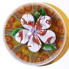 """DCP04923YVP Flower... Ysart/Vasart flower weight with a five petal flower over three green leaves set on an 8 spoke millefiori 1-2 design cartwheel and a yellow ground, 3.45"""" x 2.85"""" and 27.0 ozs. Concave fire-polished base with a deep concave rough ground pontil mark area. No label. circa 1946 to 1956/59 and possibly to 1964. acquired 05-17-10."""