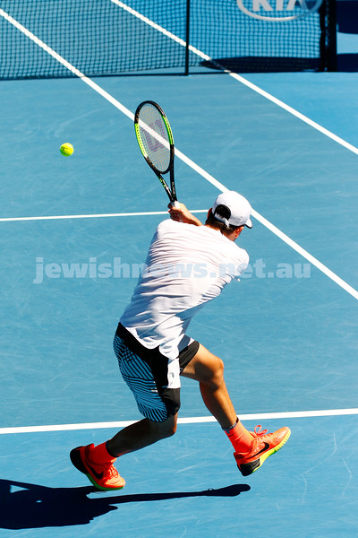 27-1-17. Australian Open 2017. Junior Boys semi final. Margarat Court Arena. Yshai Oliel (ISR) [4] defeats Yibing Wu (CHN) [1] 6-4 3-6 6-2. Photo: Peter Haskin
