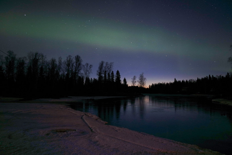 Northern lights reflection, Pirskeri-Birsskär, Finland