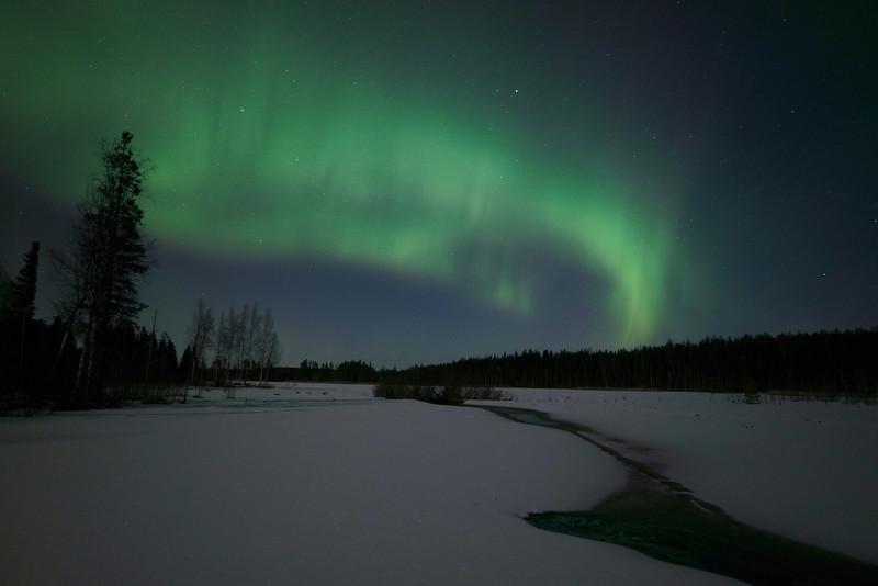 Northern Lights, lake, Kälviä-Kelviå, Finland