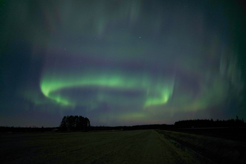 Northern lights, fields, Kälviä--Kelviå, Finland