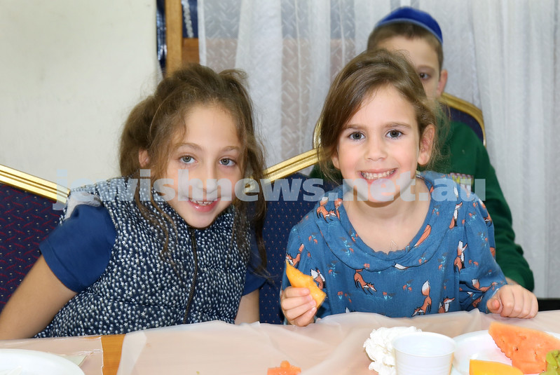 Yud Aleph Nissan Children's Rally at Tzemach Tzedek Synagogue. Laila Feiglin & Simi Moss. Pic Noel Kessel.