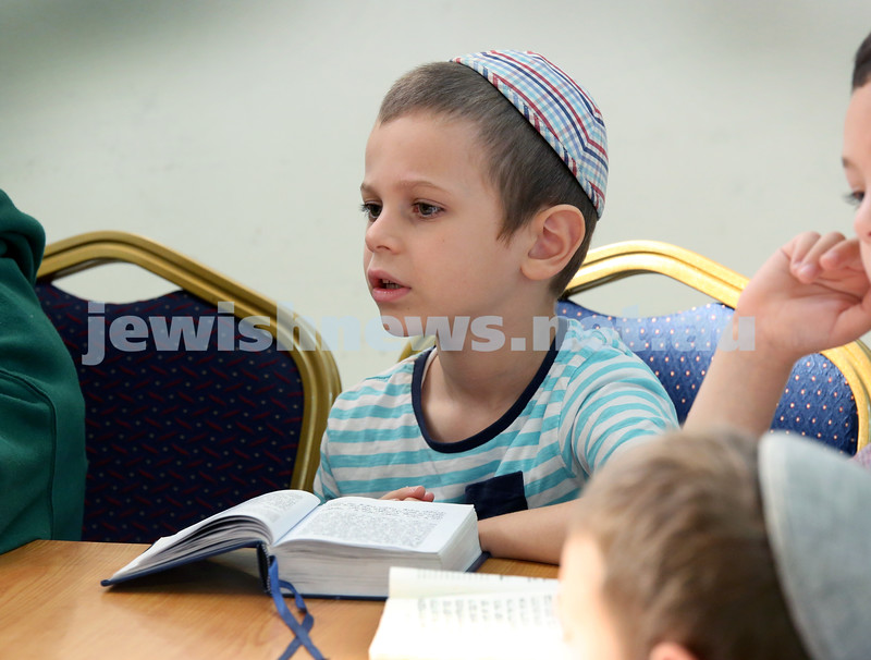 Yud Aleph Nissan Children's Rally at Tzemach Tzedek Synagogue. Moshe Schapiro. Pic Noel Kessel.