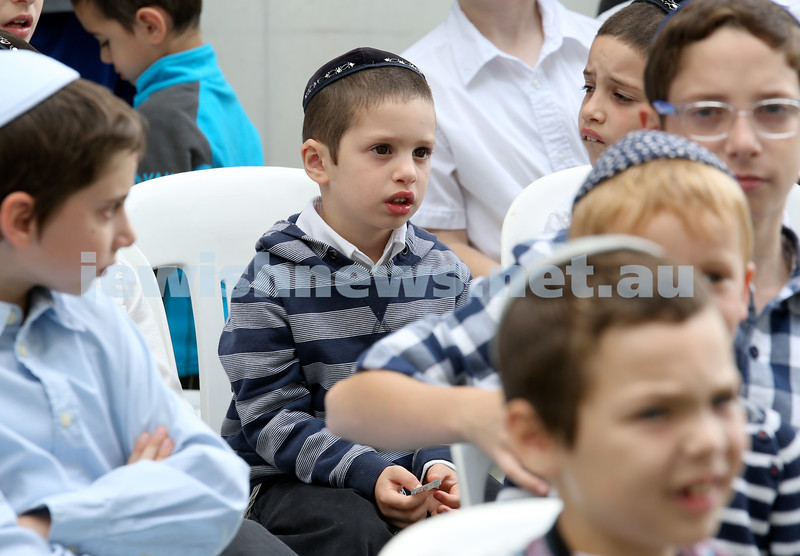 Yud Aleph Nissan Children's Rally at Tzemach Tzedek Synagogue. Gershon Richter at the rally. Pic Noel Kessel.