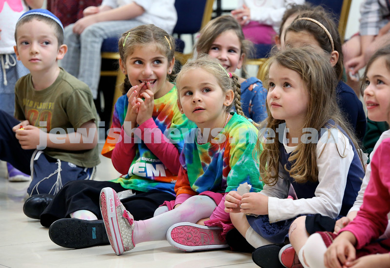 Yud Aleph Nissan Children's Rally at Tzemach Tzedek Synagogue. A group of children take part in activities. (from left) Pinchas Scuri, Mushka Shuchat, Shaina Bracha Shuchat, Golda Moss. Pic Noel Kessel.