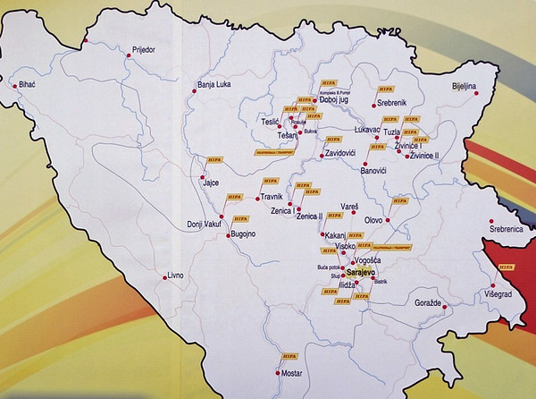 Bosnia map, Banovici, Bosnia-Hercegovina, Wed 11 June 2014.  Map photographed on the wall of a Hifa filling station!  It shows some of the places we visited, notably Tuzla and its vicinity, Sarajevo, and Visegrad at bottom right.  Croatia is at top and left, Serbia is at right.