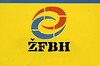 ZFBH logo, Sarajevo station, Bosnia-Hercegovina, Fri 13 June 2014.  ZFBH = Railways of the Federation of Bosnia-Hercegovina, one of the two entities into which Bosnia-Hercegovina is divided.  The Federation covers the mainly Croat and Muslim parts of Bosnia.  The Srpska Republic covers the mainly Serb parts.  Each entity has its own railway administration.