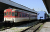 Srpska Republic Rlys (ZRS) 814-043, Tuzla, Bosnia-Hercegovina, Tues 10 June 2014 - 0934.  Built by Fiat about 1973, bought used from Slovenian Rlys (SZ).  813-043 is behind it.  The pair were awaiting departure with the 1020 to Doboj (61km), in the Srpska Republic part of Bosnia-Hercegovina.  There are two departures daily.