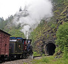 Jugoslav Rlys (JZ) 83-052, near Mokra Gora, Serbia, Sun 15 June 2014 2.  Stopping for a runpast into tunnel 47.  The 20 tunnels on the Sargan mountain railway are numbered in descending order from 51, east of Mokra Gora, to 32, the King Aleksander I summit tunnel west of Sargan Vitasi.