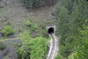 Tunnel 41, Sargan 8 Mountain Railway, Serbia, Sun 15 June 2014 2 - 1000.  Looking down on the tunnel after the train has changed direction while climbing the Jatare horseshoe.