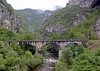 Railway bridge between Dobrun and Vardiste, Bosnia-Hercegovina, Sat 14 June 2014.  Looking north from inside a bus.