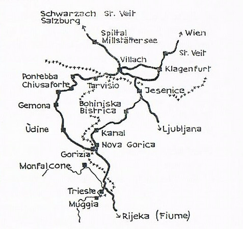 Railways in the border areas of Austria (top), Italy (left) and Slovenia (right).  When built these lines were all in the Austro-Hungarian empire until it collapsed in 1918.  The Jesenice - Nova Gorica line was then divided between Yugoslavia and Italy until 1947, when the southern part transferred to Yugoslavia.  As can be seen, the 96km line is now entirely in Slovenia.  It was opened in 1906 to provide an additional route from Salzburg and Vienna (Wien) to the Adriatic port of Trieste, vital for land-locked Austria.  Known as the Bohinj (Slovene) or Wocheiner (German) Rly, the single track, standard gauge line is now only lightly used and is not electrified.