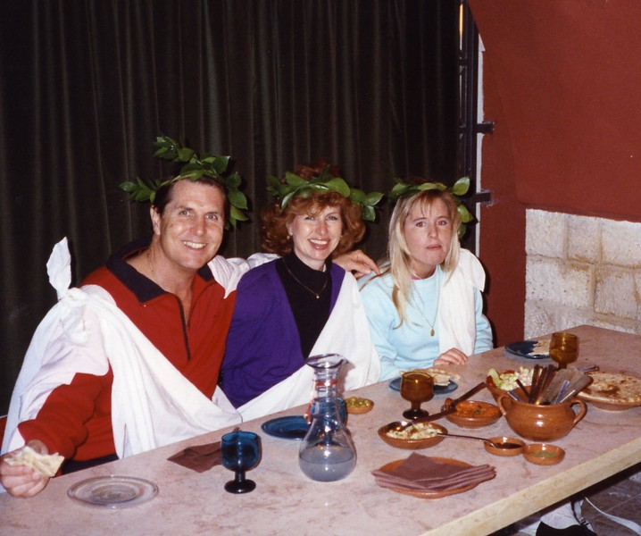 Our family during Toga Dinner Yugoslavia Dubronvik, Italy ,Holy Land and Egypt March 1-20th 1990