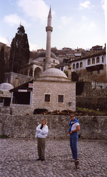 Tom with Lisa in Mostar Yugoslavia Dubronvik, Italy ,Holy Land and Egypt March 1-20th 1990