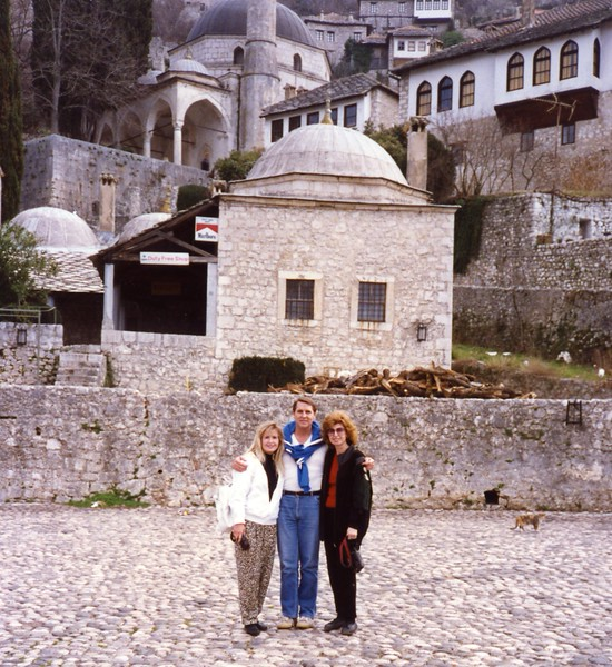 Street of Mostar with our family Yugoslavia Dubronvik, Italy ,Holy Land and Egypt March 1-20th 1990