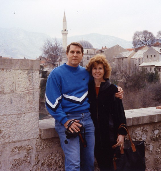 Tom and Betty on Bridge in Mostar Yugoslavia Dubronvik, Italy ,Holy Land and Egypt March 1-20th 1990
