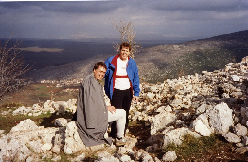 Lloyd and Tom at top of Apparition Hill Yugoslavia Dubronvik, Italy ,Holy Land and Egypt March 1-20th 1990