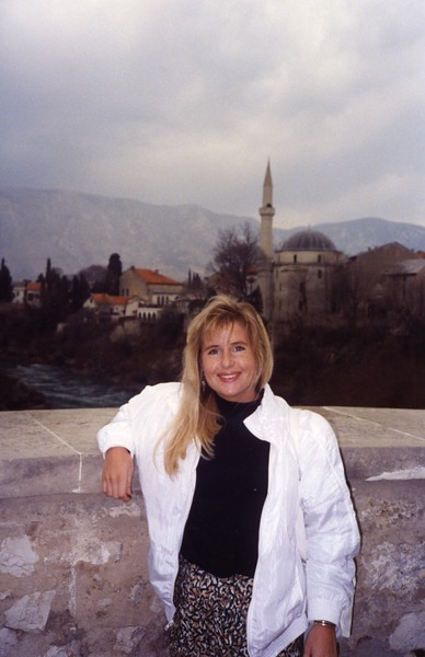 Lisa on the bridge at Mostar Yugoslavia Dubronvik, Italy ,Holy Land and Egypt March 1-20th 1990