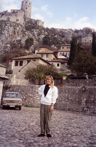 Lisa on  the cobble stone streets of Mostar Yugoslavia Dubronvik, Italy ,Holy Land and Egypt March 1-20th 1990