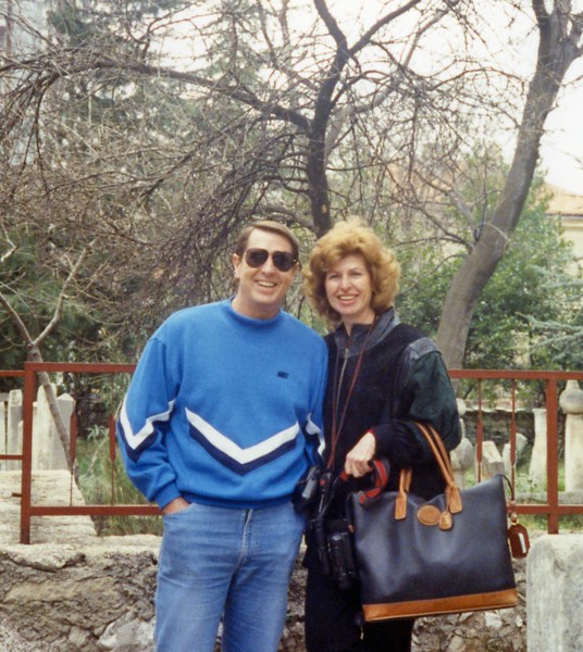 Tom with Betty in Mostar Yugoslavia Dubronvik, Italy ,Holy Land and Egypt March 1-20th 1990