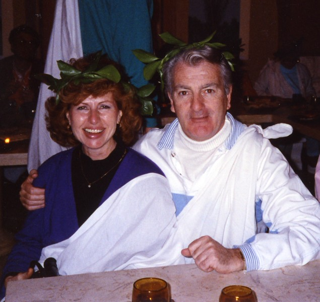 Msgr with Betty at Toga Party Yugoslavia Dubronvik, Italy ,Holy Land and Egypt March 1-20th 1990
