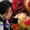 Uni enjoying the Landmark's Chinese Year of the Monkey decor