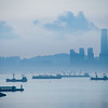 Close up sunrise shot of Hong Kong Island with the IFC prominently towering above the other buildings