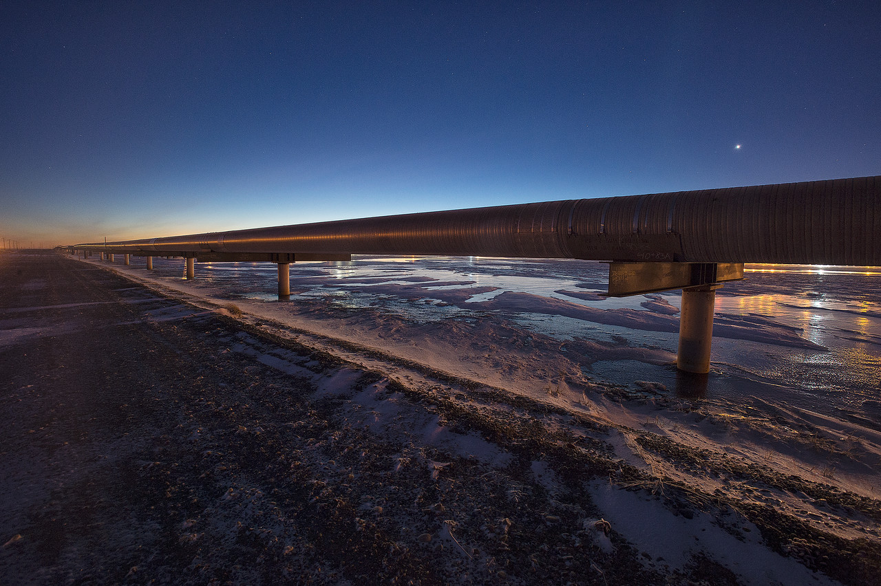 Oil Infrastructure from Alaska's Arctic Coastline, Prudhoe Bay Oil Fields. Alyeska Oil pipeline that goes from Prudhoe Bay Alaska to Valdez.