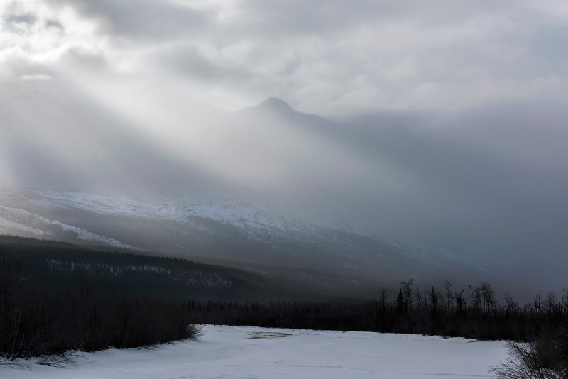 Winter storm clouds, Kluane Mountains and Dezadeash River, near Haines Junction, Yukon Territory
