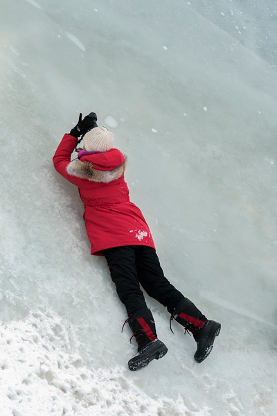Lying on the ice to get the shot, Dezadeash River, Haines Junction, Yukon Territories