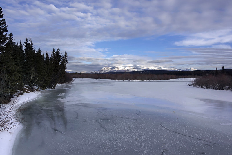 Frozen Dezadeash River and Kluane Moutains, Haines Junction, Yukon Territory