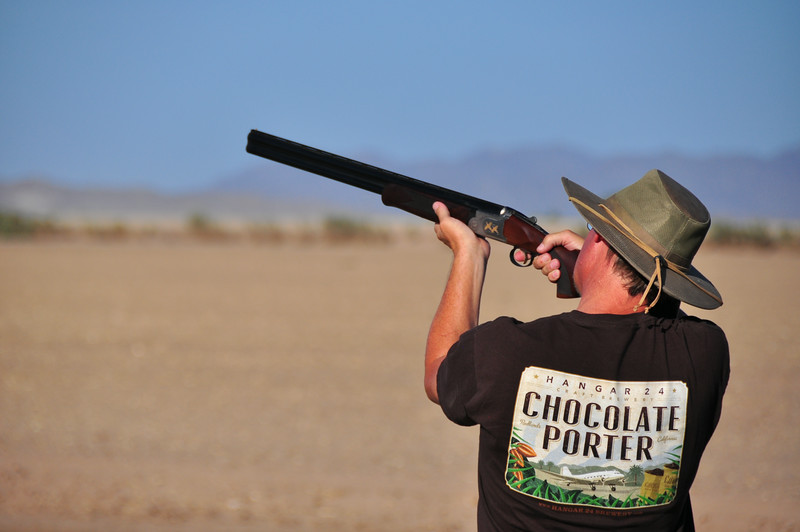 Mark takes aim at a clay bird