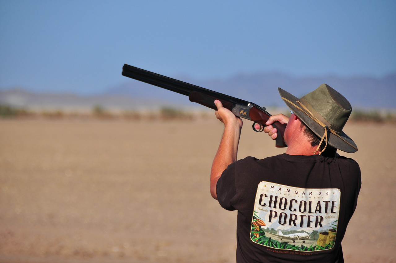 Mark takes aim at a clay bird