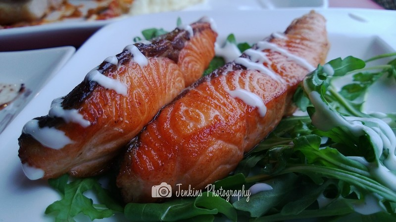 Norwegian salmon, nicely grilled.  -- Grill-Out@Turf City